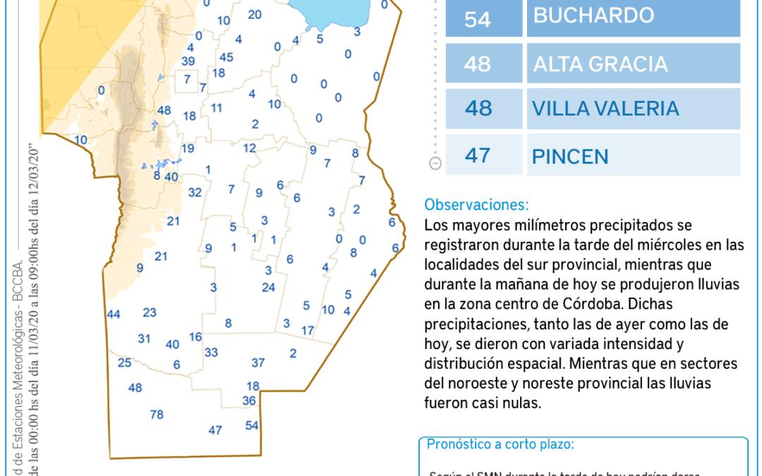Precipitaciones acumuladas del 11 al 12 de marzo